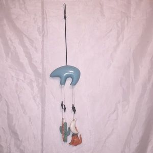 Southwestern CUTE!! ceramic blue bear wind chime